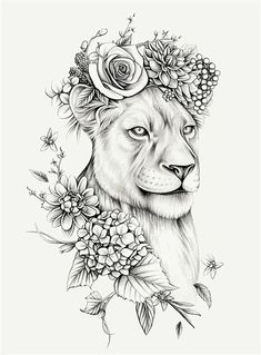 Lauren Mortimer - Pencil Illustrator specializing in Realism and Vintage Illustrations Female Lion Tattoo, Lion Tattoo On Thigh, Lion Tattoo Sleeves, Sleeve Tattoos, Tattoo Arm, Tattoo Flash, Female Hip Tattoos, Chest Tattoo, Leo Tattoos