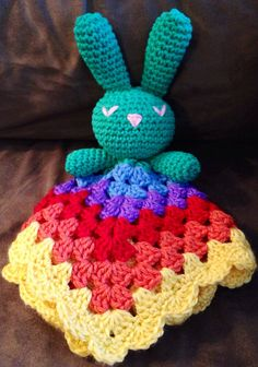 Crochet Rainbow Sleeping Bunny Lovey on Etsy, $20.00