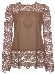 Brown blouse with lace