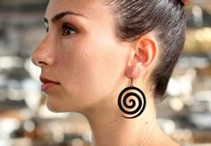 These are laser cut spiral earrings made from vegetable tanned cowhide leather. Leather Earrings, Leather Jewelry, Cowhide Leather, Spiral, Drop Earrings, Trending Outfits, Unique Jewelry, Handmade Gifts, Etsy