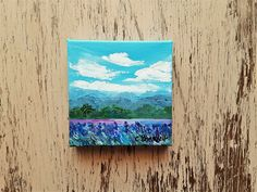 Mountain painting Flower field painting Landscape painting Affordable art Under 40 dollars Free shipping US Small Paintings, Seascape Paintings, Landscape Paintings, Watercolor Paintings, Watercolor Cards, Watercolor Flowers, Original Art, Original Paintings, Mountain Paintings