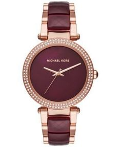 Michael Kors Watches Collection 2018   2019   Michael Kors Women s Parker  Rose Goldtone And Plum Acetate Three Hand Watch   Details can be found by  clicking ... d13e1e9ee787