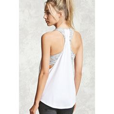 Forever21 Active Twofer Sports Bra Top ($16) ❤ liked on Polyvore featuring activewear, sports bras, white sports bra, athletic sportswear, racer back sports bra, forever 21 and forever 21 activewear