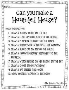 halloween activities Haunted House (Halloween) Activity: The Directions can you make a Holiday Activities, Activities For Kids, September Activities, Team Bonding Activities, Spring Activities, Halloween Games, Halloween Worksheets, Spooky Halloween, Halloween Speech Therapy Activities