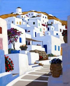 Ballade à Sérifos artist: Jean Claude Carsuzan Watercolor Landscape, Landscape Art, Landscape Paintings, Pinturas Em Tom Pastel, Painting Inspiration, Art Inspo, Painting & Drawing, Watercolor Paintings, Santorini