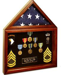 Combination Flag and Military Display Case, Made in USA Military Flag Display Cases, Solid Wood Military Flag Display Cases, Wood and Glass Military Display