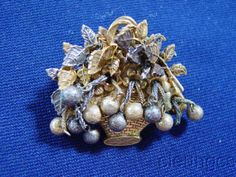 Vintage Miriam Haskell Basket Leaves Dangles Pin Brooch - Antiqued Signed 1950s #MiriamHaskell