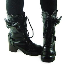Black 45MM Heel High-Top Round-Toe Lolita Boots,Women US8 Lolita Shoes