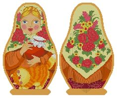Counted Cross Stitch Russian Doll Matreshka Granddaughter, two-sided design