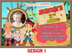 Custom Photo Jake and the Neverland Pirates Birthday by DesignRus, $9.99