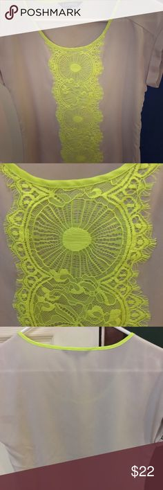 Express XS Neon Yellow Lace and Gray Blouse Express XS Neon Yellow Lace and Gray Blouse. Short sleeve with small roll sleeve detail. Neon yellow lace detailing runs down the front middle and the neckline is also piped with neon yellow. No rips, tears, or stains and in like new condition! Perfect for summer! ☀️ Express Tops Blouses