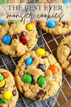 Thick and chewy Monster Cookies made with oats, peanut butter, M&M candies and chocolate chips. These are always a huge hit with family and friends. Best Homemade Cookie Recipe, Best Cookie Recipes, Homemade Cookies, Best Dessert Recipes, Yummy Cookies, Sweet Recipes, Sugar Cookies Recipe, Frozen Desserts, Holiday Desserts