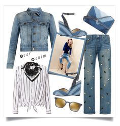 """Denim Head to Toe"" by onesweetthing ❤ liked on Polyvore featuring Tu Es Mon Trésor, Yves Saint Laurent, Equipment, STELLA McCARTNEY, Oliver Peoples, BCBGMAXAZRIA, Jimmy Choo, StellaMcCartney, saintlaurent and OliverPeoples"