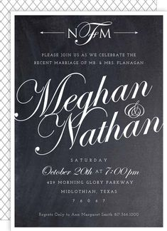 Post Wedding Reception Invite! Chalkboard & Script