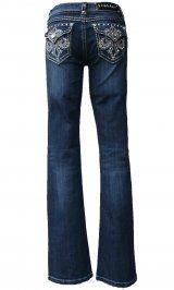 LA Idol Denim Jeans Rhinestone & Embroidered Bootcut Jeans