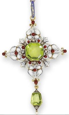 Peridot, Enamel And Diamond Pendant By Carlo Giuliano, c.1880's - Bonham's s