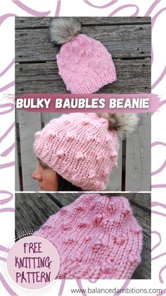 New to bobbles? This is the perfect way to make your introduction! Fast and fun, this beanie works up in no time, and the big stitches are easy to work and see what you're doing. Bobble Pro? You'll be able to whip up a cute and comfy hat in no time! Great for advanced beginners and anyone who wants the satisfaction of a beautiful but easy project. Worked with super bulky yarn. Winter Knitting Patterns, Hat Patterns, Free Knitting, Knit Hats, Knitted Hat, Easy Knitting Projects, Super Bulky Yarn, Bobble Stitch, Diy Hat
