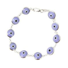 Lavender evil eye jewelry in sterling silver. Evil eye is a good luck charm that wards off evil. It is widely used all over the Mediterranean basin. We have a wide selection of colors to choose from.