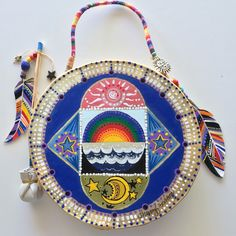 """""""EARTH LOVE"""" ~ $ 164  ~  10inch primitive drum & beater ~ designed & hand-painted by artist:  Sharon Gilbertson  (contact artist on website)  For clothing collection - follow link on website to Sharon's VIDA VOICES shop.  Thank you."""