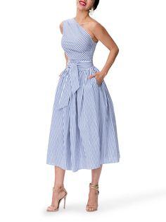 """Monaco"" Striped One Shoulder Midi Dress Chic Outfits, Dress Outfits, Fashion Dresses, Fashion Hats, Skater Outfits, Skull Fashion, Emo Outfits, Disney Outfits, 80s Fashion"