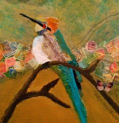 Torn paper, stamps and paint