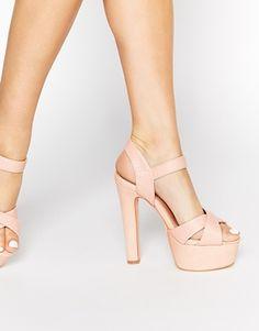 Sandalias de tacón y plataforma en nude Felicity de Miss KG
