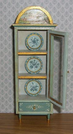 It is signed - Leslie Lassige (that's me!). and dated on the bottom of the piece. Dollhouse Miniature Curio Cabinet & Plates. I've hand painted this unique little curio cabinet in a base of seafoam green & french teal. | eBay!