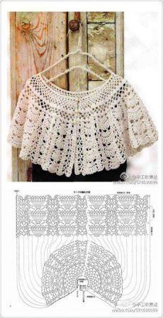 Crochet cape – Fashion World Cardigan Au Crochet, Crochet Cape, Crochet Collar, Crochet Scarves, Irish Crochet, Crochet Clothes, Beau Crochet, Pull Crochet, Mode Crochet