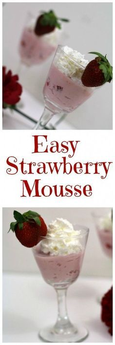 Simple and easy strawberry mousse recipe! Perfect for Valentine's day or just to make any day extra special