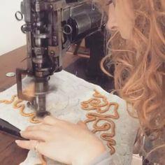 @daisysheldonembroidery -  Whistle while you work! Cording progress my 1920's cornely machine 'Beryl' singing away! . . . #embroidery #cording #cornely #gold #aladdin #theatre #disney #costume #london #progress - #regrann