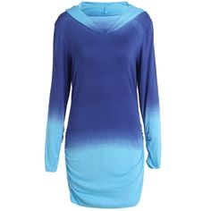 Trendy Hooded Ombre Color Long Sleeve Hoodie For Women