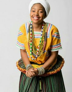 Tsonga princess Tsonga Traditional Dresses, Traditional Outfits, Traditional Weddings, African Attire, African Dress, African Fashion Ankara, African Style, African Traditional Wear, African Wedding Dress
