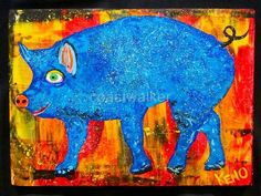 Blue Pig Painting Abstract Folk Art Maine Outsider Coastwalker | eBay
