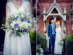 Bride's bouquet in blue and white