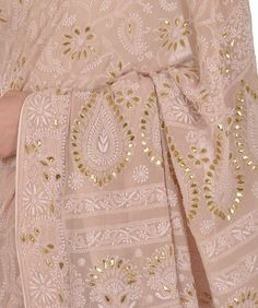 Oyster Pink Intricate Chikankari With Gota Patti Pure Georgette Saree- a gem 😍 Indian Embroidery, Embroidery Dress, Embroidery Designs, Embroidered Dresses, Hand Embroidery, Indian Attire, Indian Wear, Indian Dresses, Indian Outfits