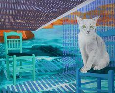 'kat på græsk stol' - akryl, olie og blyant på lærred, 65 x 80 cm Olie, Kat, Paintings, Paint, Painting Art, Painting, Painted Canvas, Drawings, Grimm