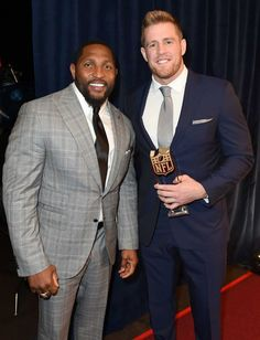 Former NFL player Ray Lewis, left, and  Houston Texans' J.J. Watt, who won the AP Defensive Player of the Year award, pose backstage at the fifth annual NFL Honors at the Bill Graham Civic Auditorium on Saturday, Feb. 6, 2016, in San Francisco. (Photo by Jordan Strauss/Invision for NFL/AP Images) Photo: Jordan Strauss, Associated Press / NFL