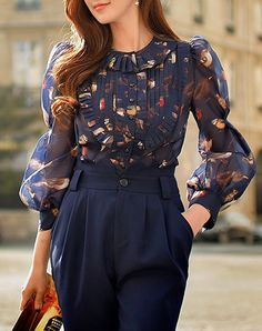 Stylish Sweet Polyester Balloon Sleeve Crew Neck Floral Blouse, As Shown, Dabuwawa | VIPme