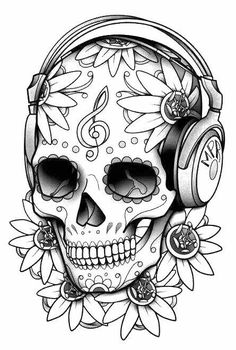 Printable Skull Coloring Pages Ideas. Skull coloring pages are fun to color. Skull Coloring Pages, Printable Adult Coloring Pages, Coloring Pages To Print, Colouring Pages, Coloring Books, Coloring Sheets, Tatuagem Headphones, Headphones Tattoo, Skull Headphones