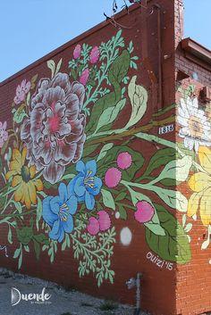 Art on the Street – Detroit Ouizi for Murals in the Market – Detroit Graffiti Wall Art, Mural Wall Art, Graffiti Artists, Murals Street Art, Street Art Graffiti, Graffiti Flowers, Urbane Kunst, Garden Mural, Flower Mural
