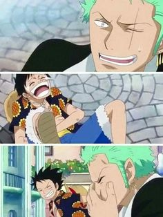 Zoro & Luffy laughing at that dude Pica. What cuties