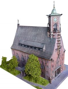 Martin Luther Kirche in Ulm, free paper model to download and build