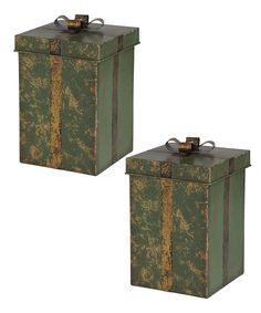 Look at this Metal Green Gift Box - Set of Two on #zulily today!