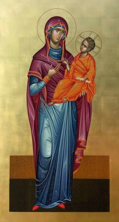 Religious Icons, Religious Art, Byzantine Art, Orthodox Icons, Blessed Mother, Mother Mary, Christian Art, Saints, Child