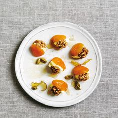... Sabrina Ghayour: Syrup-Poached Apricots with Walnuts & Clotted Cream