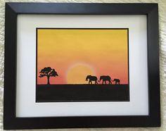 Elephant Sunset Print by NightBirdsDesign on Etsy