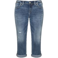 Silver Jeans Blue Plus Size Aiko slim fit capri jeans ($170) ❤ liked on Polyvore featuring jeans