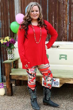 Flatter Yourself Tunic Wear Us Out Boutique Conroe/Montgomery Texas Vibrant Red Long Sleeve Solid Tunic With High/Low Back  95% Rayon 5% Spandex  Plus size available
