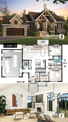 One-storey Craftsman bungalow house plan with garage, 3 bedrooms on same floor, large laundry, pantry
