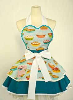 Baking Pie and Cupcake Apron- Green. $55.00, via Etsy.